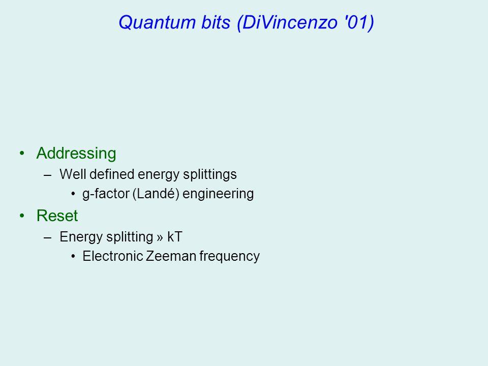 Quantum bits (DiVincenzo '01) Addressing –Well defined energy splittings g-factor (Landé) engineering Reset –Energy splitting » kT Electronic Zeeman f