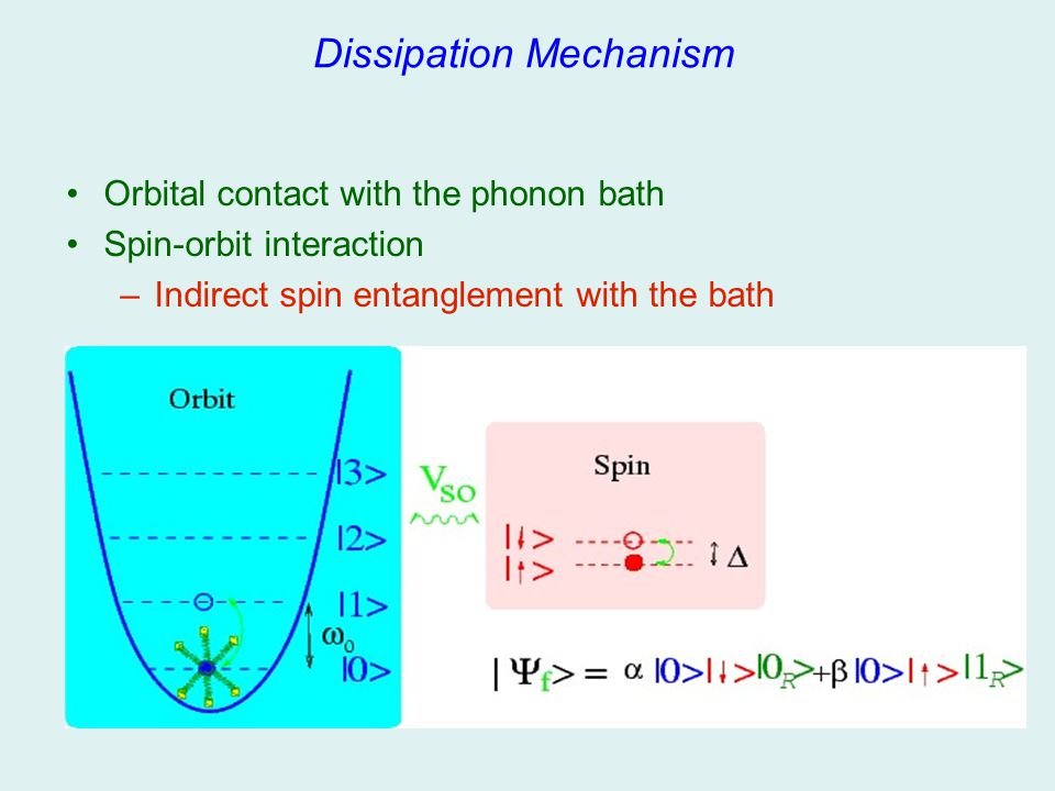 Dissipation Mechanism Orbital contact with the phonon bath Spin-orbit interaction –Indirect spin entanglement with the bath
