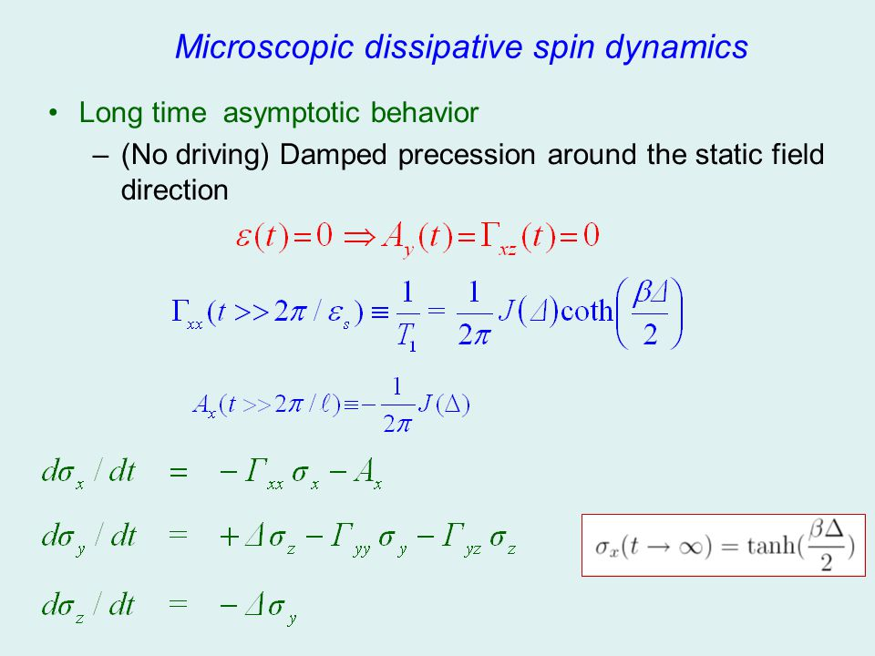 Microscopic dissipative spin dynamics Long time asymptotic behavior –(No driving) Damped precession around the static field direction
