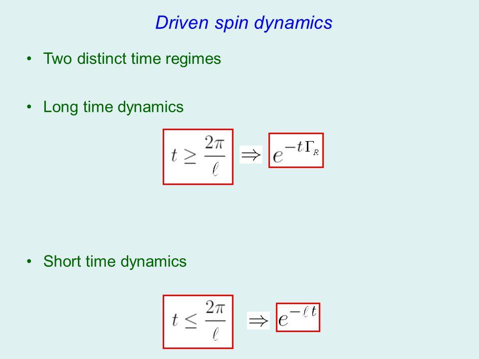 Two distinct time regimes Driven spin dynamics Short time dynamics Long time dynamics