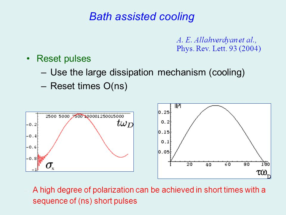 Bath assisted cooling – A high degree of polarization can be achieved in short times with a sequence of (ns) short pulses A. E. Allahverdyan et al., P