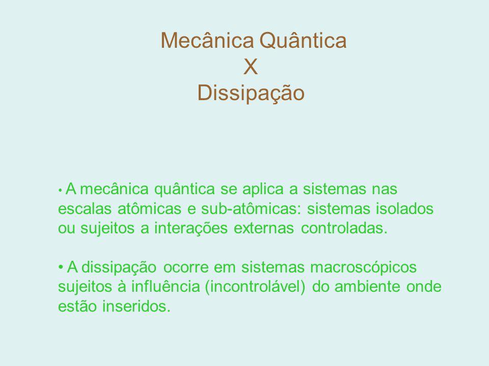 Mecânica Quântica X Dissipação A mecânica quântica se aplica a sistemas nas escalas atômicas e sub-atômicas: sistemas isolados ou sujeitos a interaçõe