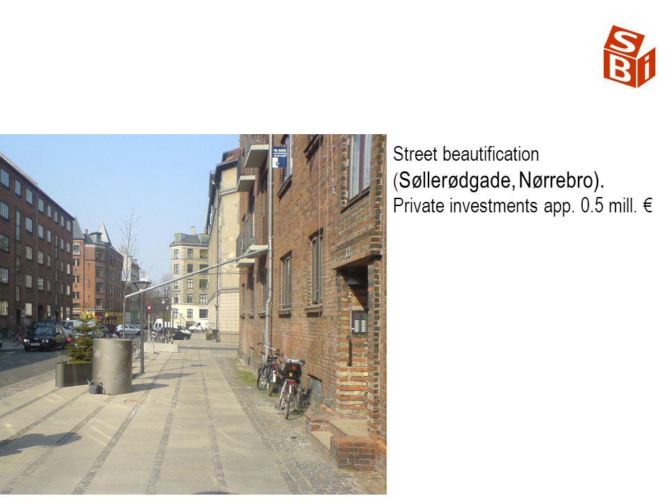 Street beautification ( Søllerødgade, Nørrebro). Private investments app. 0.5 mill.