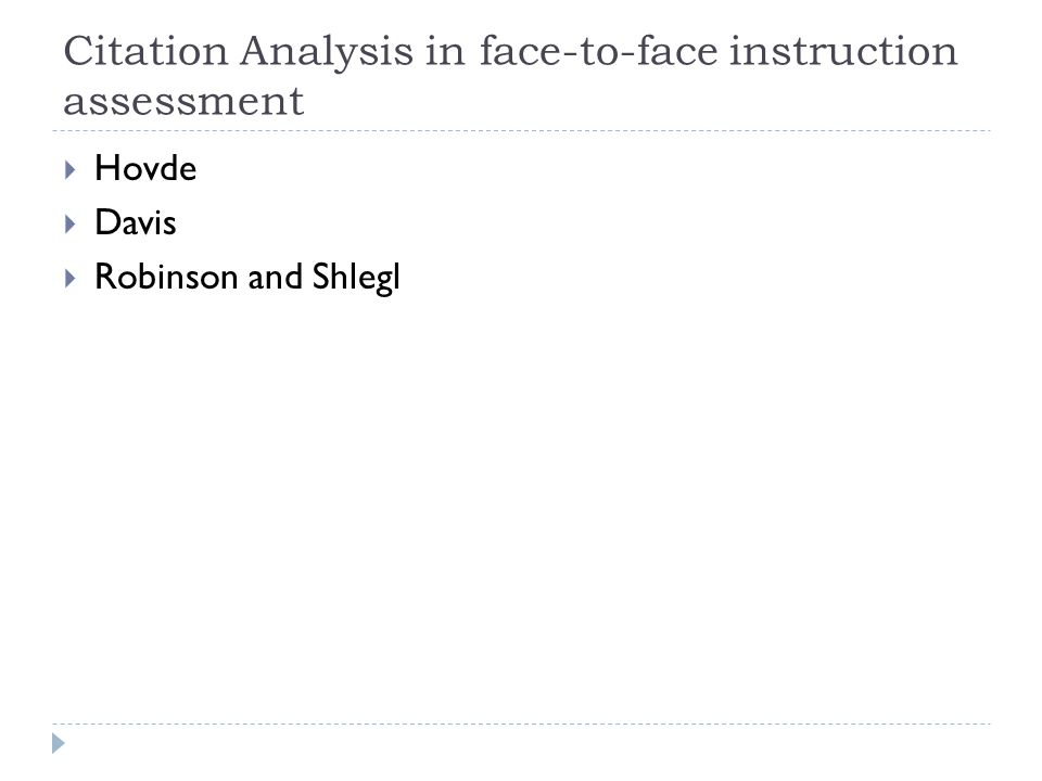 Citation Analysis in face-to-face instruction assessment Hovde Davis Robinson and Shlegl