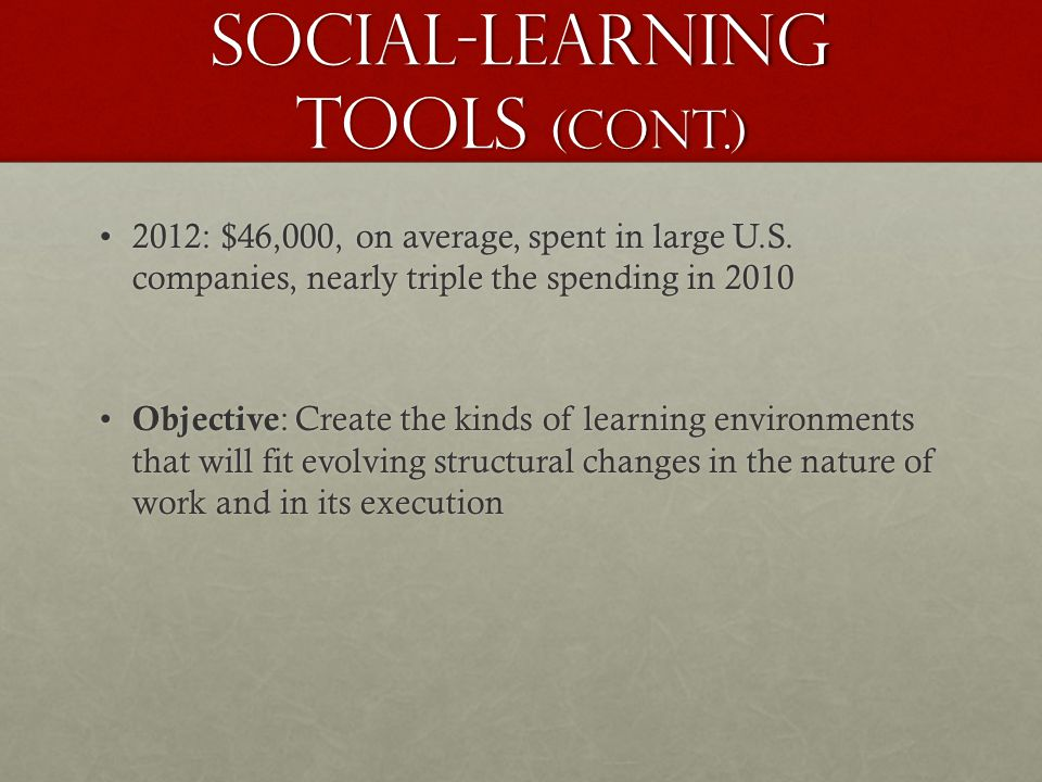Social-Learning Tools (Cont.) 2012: $46,000, on average, spent in large U.S.