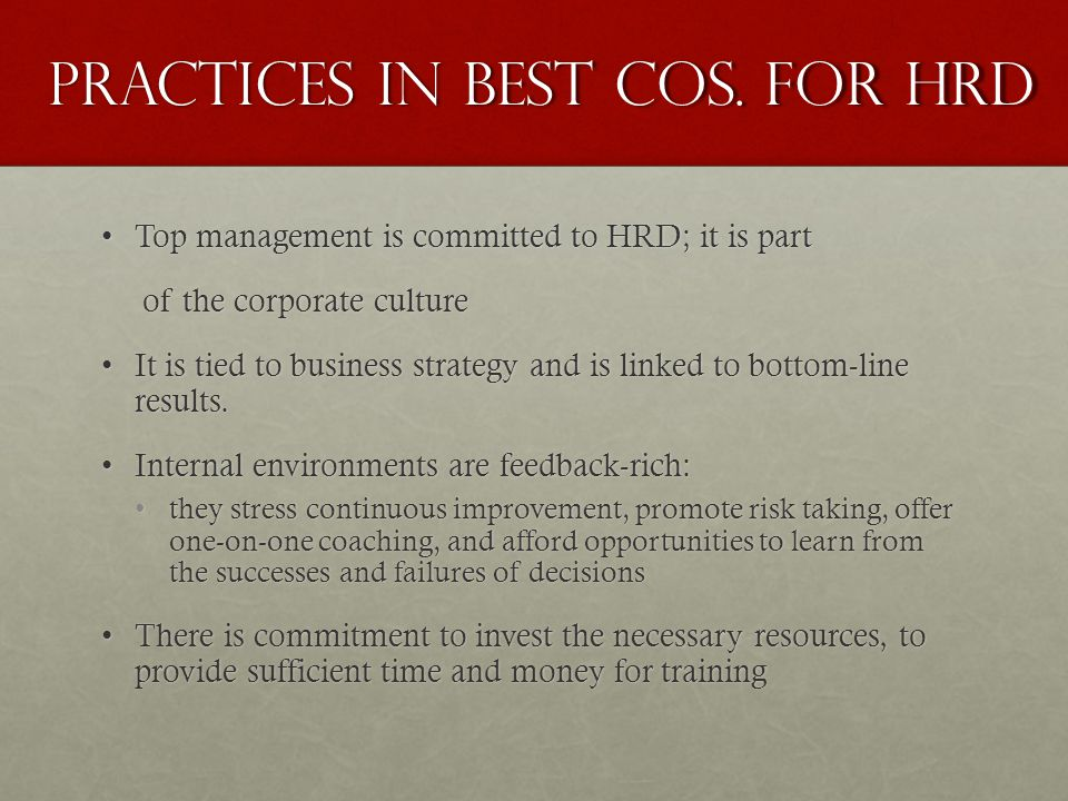 Practices in Best Cos.
