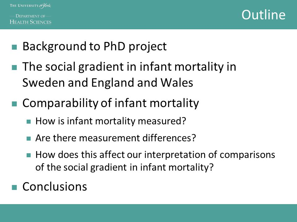 Outline Background to PhD project The social gradient in infant mortality in Sweden and England and Wales Comparability of infant mortality How is infant mortality measured.