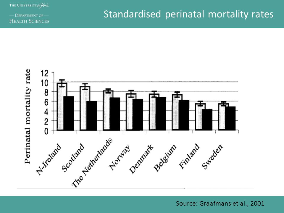 Standardised perinatal mortality rates Source: Graafmans et al., 2001