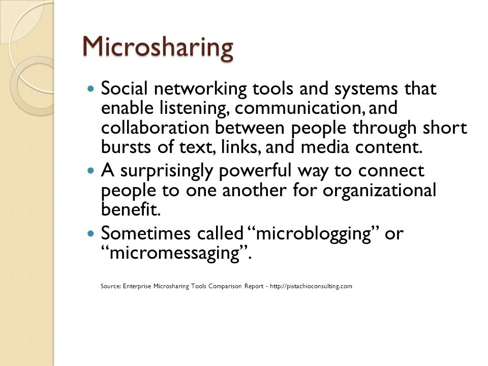 Microsharing Social networking tools and systems that enable listening, communication, and collaboration between people through short bursts of text,