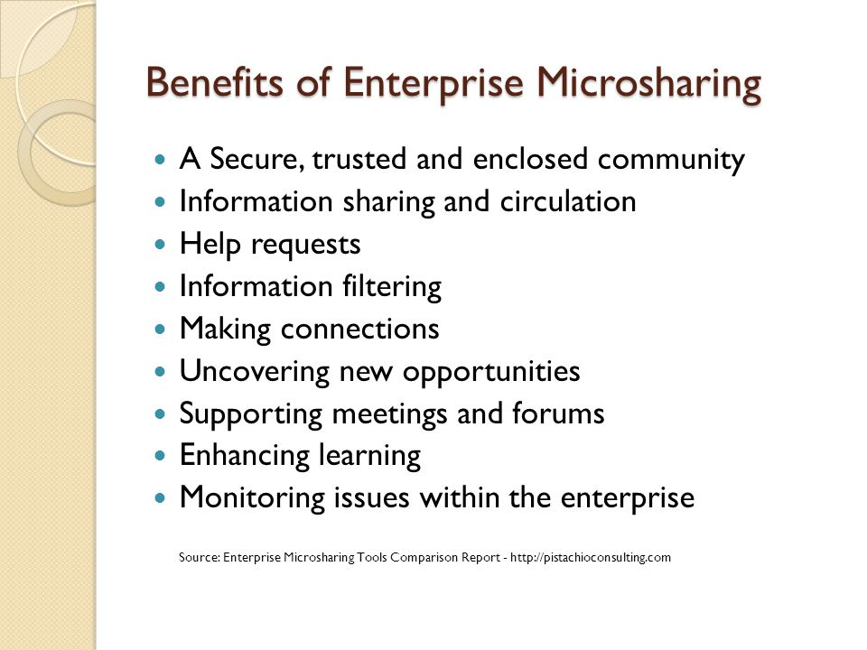 Benefits of Enterprise Microsharing A Secure, trusted and enclosed community Information sharing and circulation Help requests Information filtering M