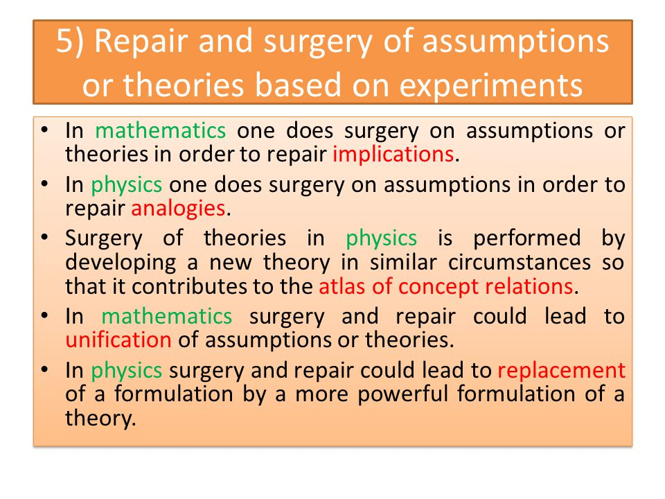 5) Repair and surgery of assumptions or theories based on experiments In mathematics one does surgery on assumptions or theories in order to repair im