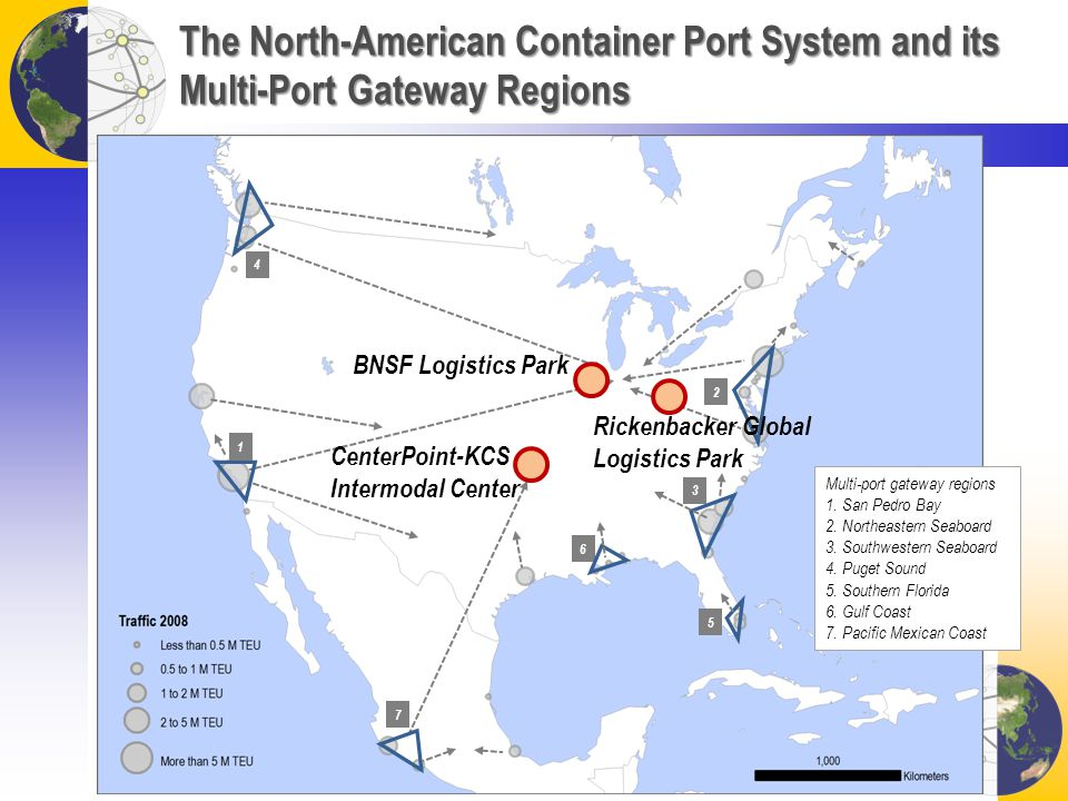 The North-American Container Port System and its Multi-Port Gateway Regions 1 2 6 5 4 3 7 Multi-port gateway regions 1.