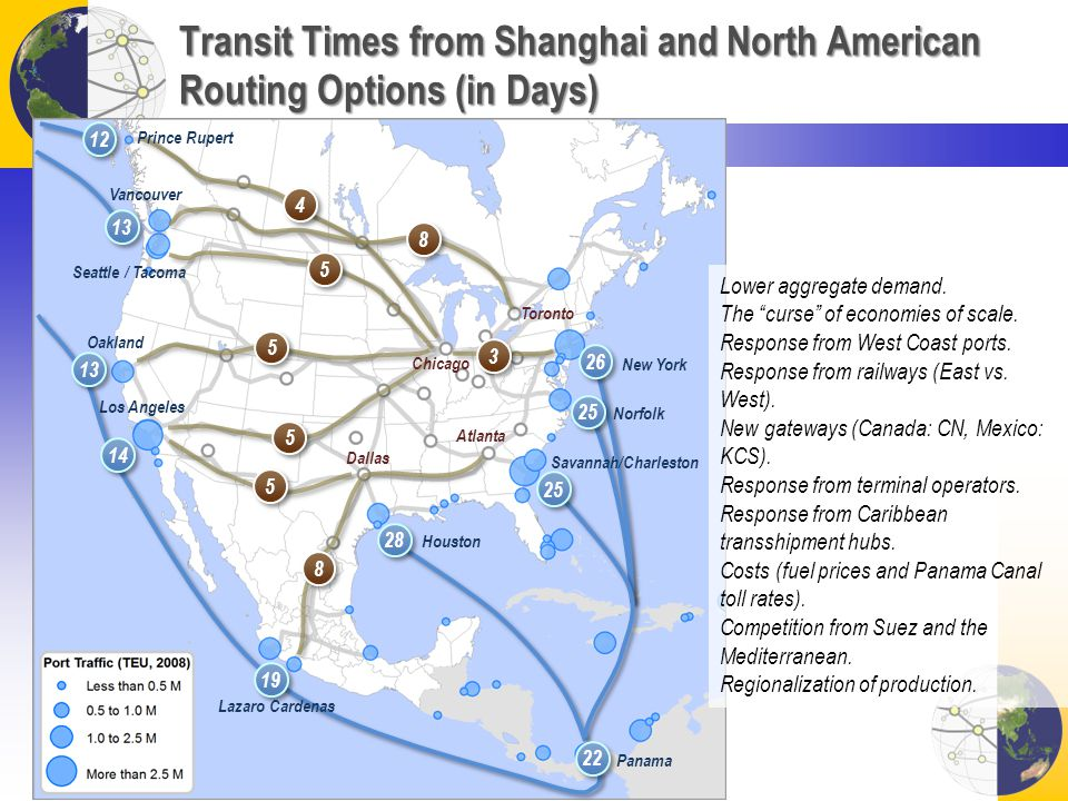 Transit Times from Shanghai and North American Routing Options (in Days) 28 25 26 25 19 13 14 12 13 22 5 5 5 5 5 5 3 3 4 4 8 8 8 8 5 5 Vancouver Seatt