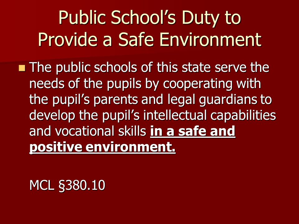 Public Schools Duty to Provide a Safe Environment The public schools of this state serve the needs of the pupils by cooperating with the pupils parent
