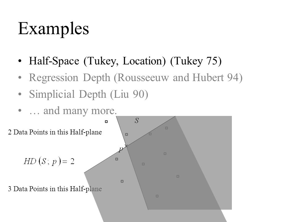 Examples Half-Space (Tukey, Location) (Tukey 75) Regression Depth (Rousseeuw and Hubert 94) Simplicial Depth (Liu 90) … and many more. 3 Data Points i