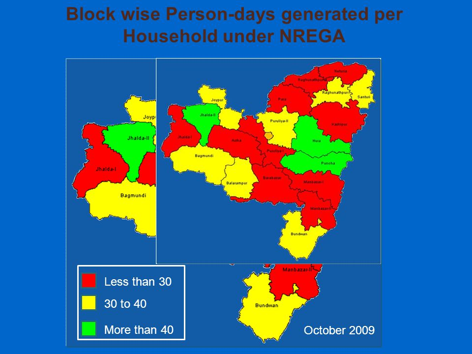 Block wise Person-days generated per Household under NREGA Less than 30 30 to 40 More than 40 October 2009