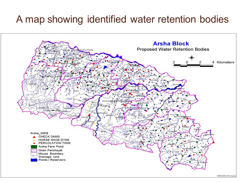 A map showing identified water retention bodies