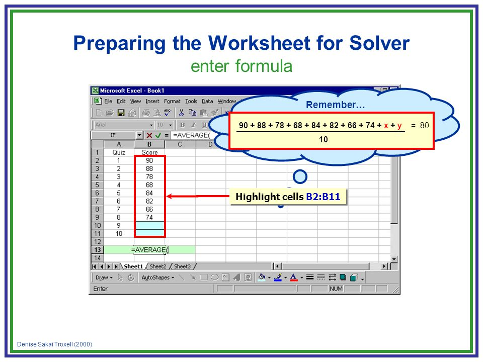 Denise Sakai Troxell (2000) Preparing the Worksheet for Solver enter formula Remember… 90 + 88 + 78 + 68 + 84 + 82 + 66 + 74 + x + y = 80 10 Highlight cells B2:B11