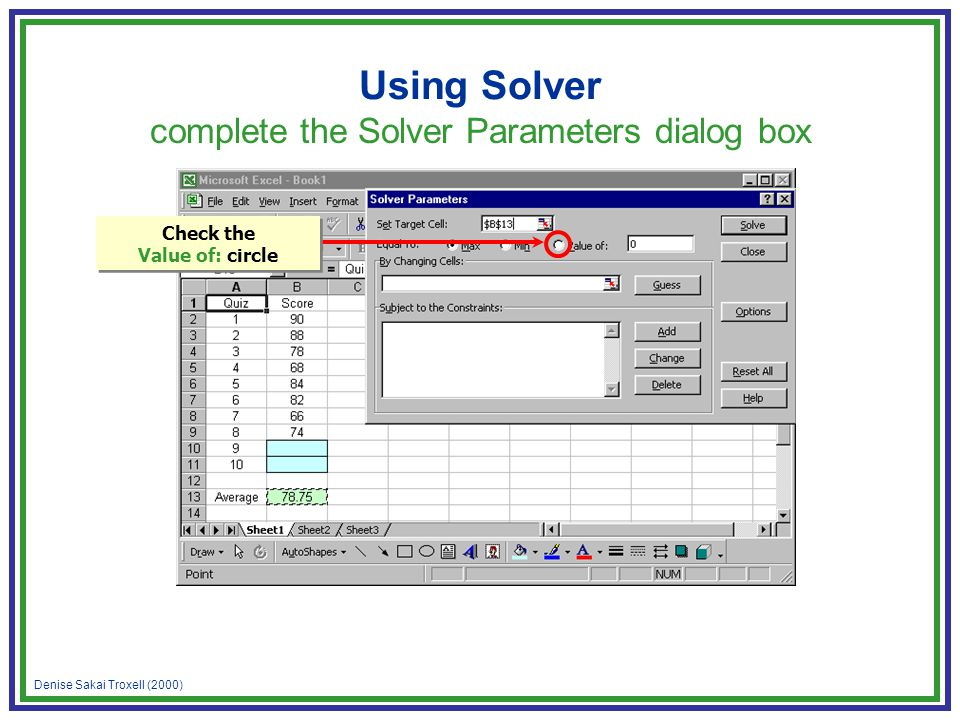 Denise Sakai Troxell (2000) Using Solver complete the Solver Parameters dialog box Check the Value of: circle
