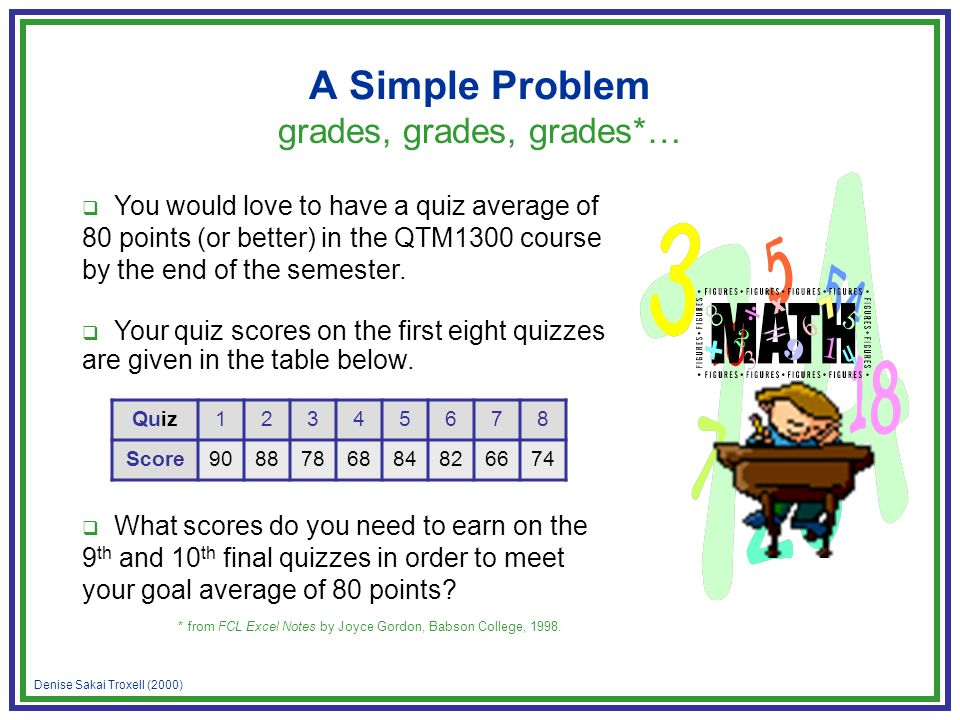 Denise Sakai Troxell (2000) A Simple Problem grades, grades, grades*… You would love to have a quiz average of 80 points (or better) in the QTM1300 course by the end of the semester.