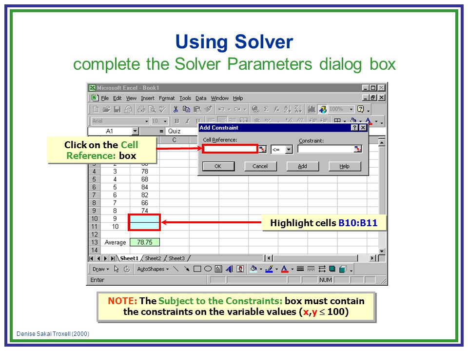 Denise Sakai Troxell (2000) Using Solver complete the Solver Parameters dialog box Highlight cells B10:B11 NOTE: The Subject to the Constraints: box must contain the constraints on the variable values (x,y 100) Click on the Cell Reference: box