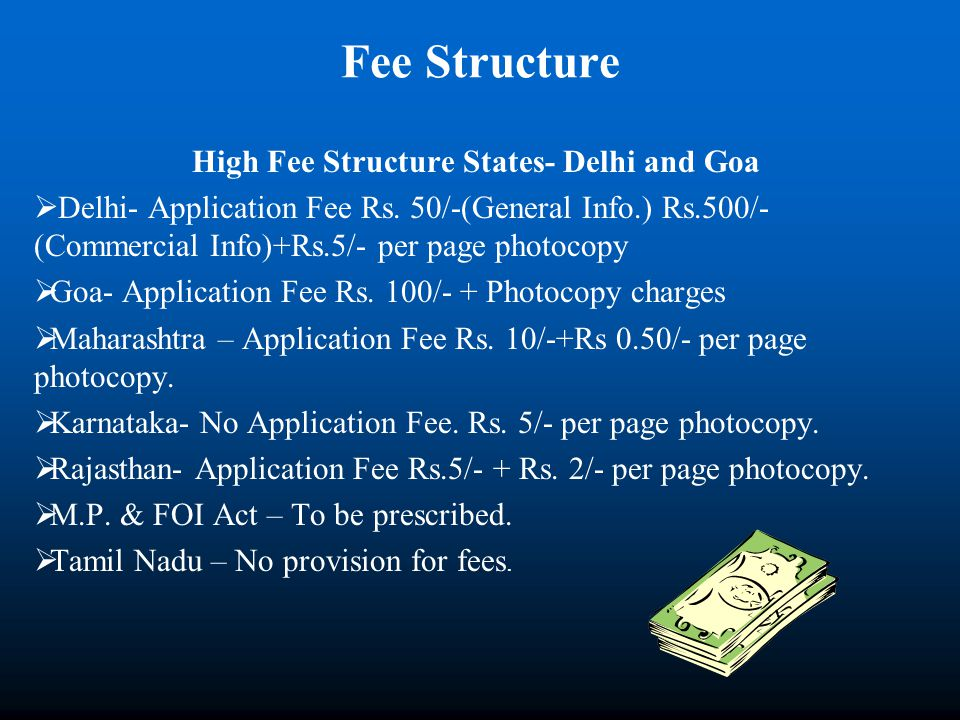 Fee Structure High Fee Structure States- Delhi and Goa Delhi- Application Fee Rs. 50/-(General Info.) Rs.500/- (Commercial Info)+Rs.5/- per page photo