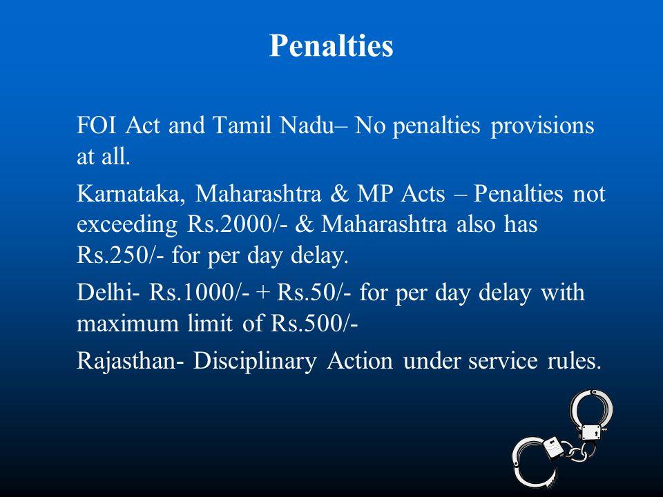 Penalties FOI Act and Tamil Nadu– No penalties provisions at all. Karnataka, Maharashtra & MP Acts – Penalties not exceeding Rs.2000/- & Maharashtra a