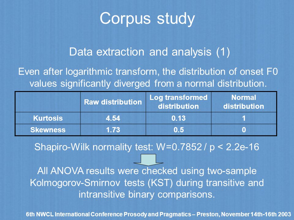 Corpus study 6th NWCL International Conference Prosody and Pragmatics – Preston, November 14th-16th 2003 Data extraction and analysis (1) Even after l
