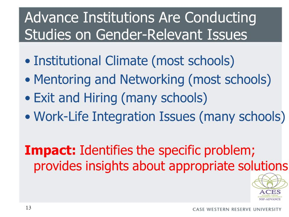 13 Advance Institutions Are Conducting Studies on Gender-Relevant Issues Institutional Climate (most schools) Mentoring and Networking (most schools) Exit and Hiring (many schools) Work-Life Integration Issues (many schools) Impact: Identifies the specific problem; provides insights about appropriate solutions