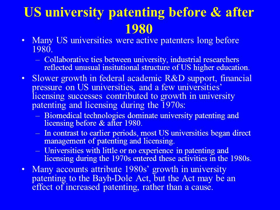 US university patenting before & after 1980 Many US universities were active patenters long before 1980.
