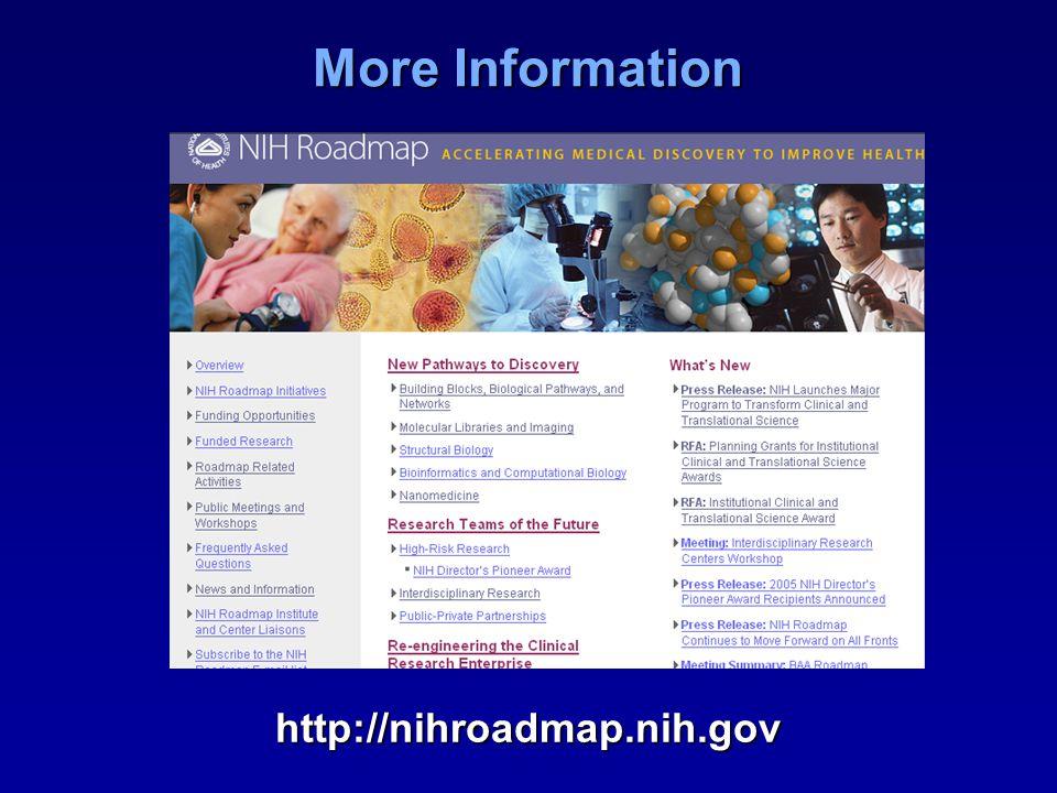 http://nihroadmap.nih.gov More Information