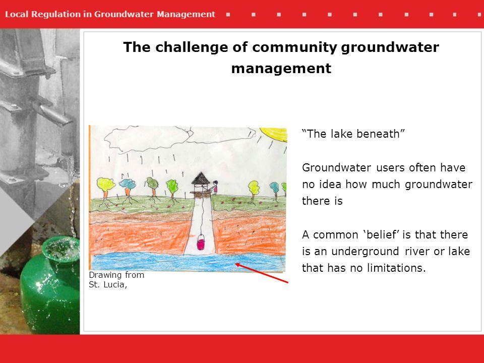 Local Regulation in Groundwater Management The challenge of community groundwater management The lake beneath Groundwater users often have no idea how much groundwater there is A common belief is that there is an underground river or lake that has no limitations.