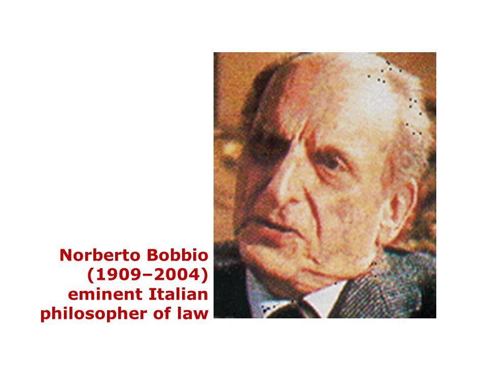 Norberto Bobbio (1909–2004) eminent Italian philosopher of law