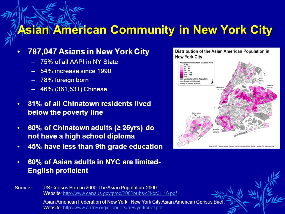 Asian American Community in New York City 787,047 Asians in New York City –75% of all AAPI in NY State –54% increase since 1990 –78% foreign born –46% (361,531) Chinese 31% of all Chinatown residents lived below the poverty line 60% of Chinatown adults ( 25yrs) do not have a high school diploma 45% have less than 9th grade education 60% of Asian adults in NYC are limited- English proficient Source:US Census Bureau 2000.