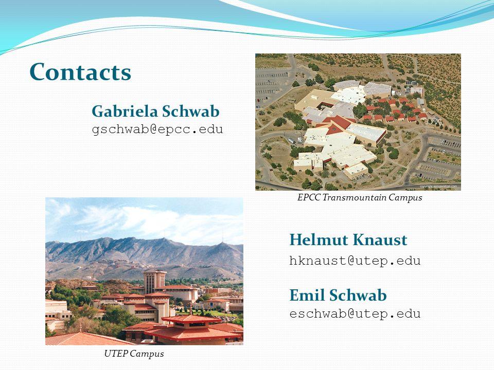 Contacts Gabriela Schwab gschwab@epcc.edu Helmut Knaust hknaust@utep.edu Emil Schwab eschwab@utep.edu UTEP Campus EPCC Transmountain Campus