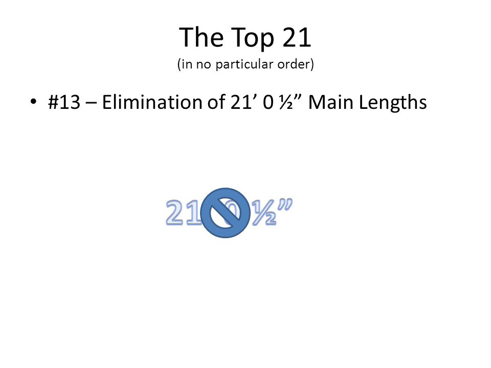 The Top 21 (in no particular order) #13 – Elimination of 21 0 ½ Main Lengths