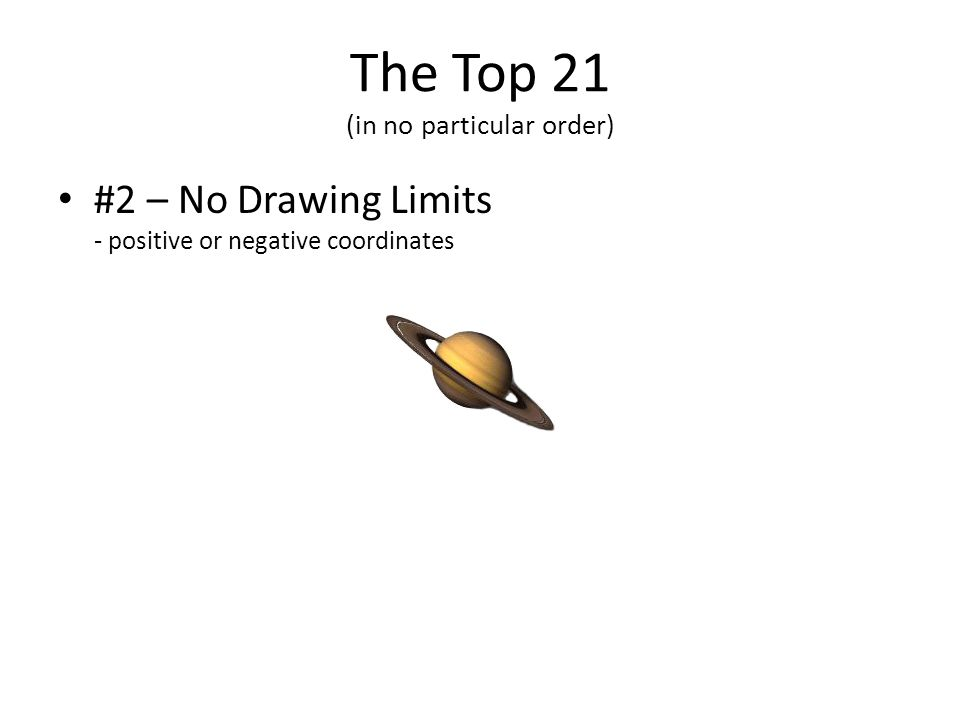 The Top 21 (in no particular order) #2 – No Drawing Limits - positive or negative coordinates