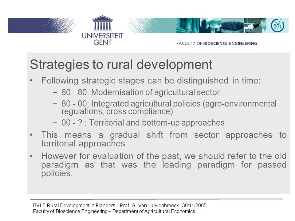 BVLE Rural Development in Flanders – Prof.G.