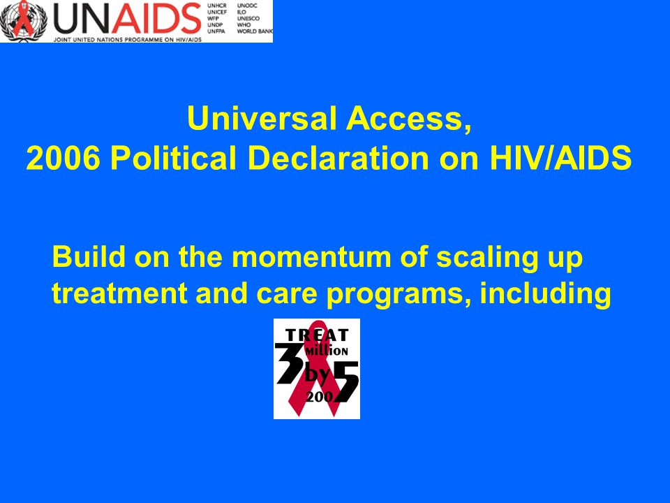 Build on the momentum of scaling up treatment and care programs, including Universal Access, 2006 Political Declaration on HIV/AIDS