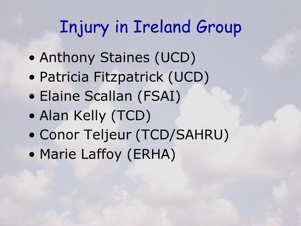 Injury in Ireland Group Anthony Staines (UCD) Patricia Fitzpatrick (UCD) Elaine Scallan (FSAI) Alan Kelly (TCD) Conor Teljeur (TCD/SAHRU) Marie Laffoy (ERHA)