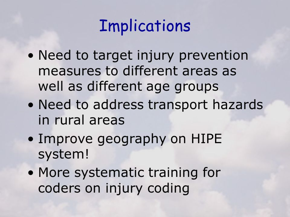 Implications Need to target injury prevention measures to different areas as well as different age groups Need to address transport hazards in rural a