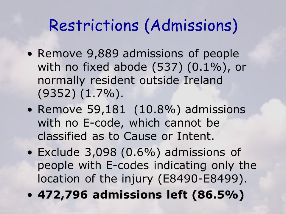 Restrictions (Admissions) Remove 9,889 admissions of people with no fixed abode (537) (0.1%), or normally resident outside Ireland (9352) (1.7%). Remo