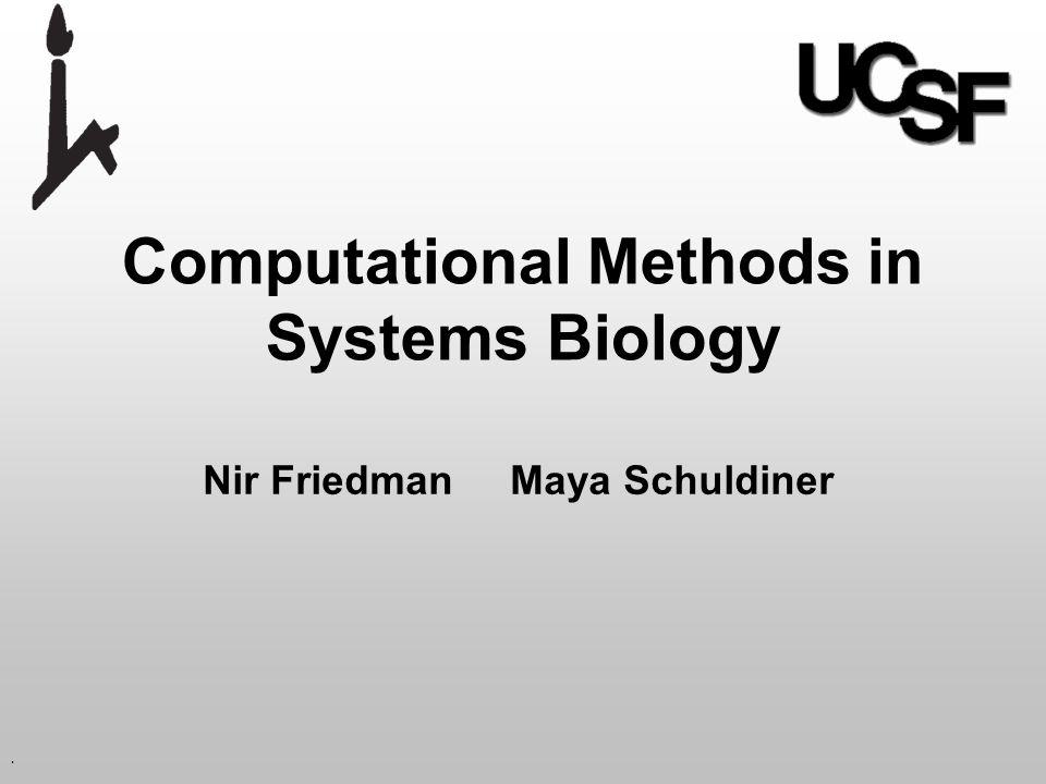 . Computational Methods in Systems Biology Nir Friedman Maya Schuldiner