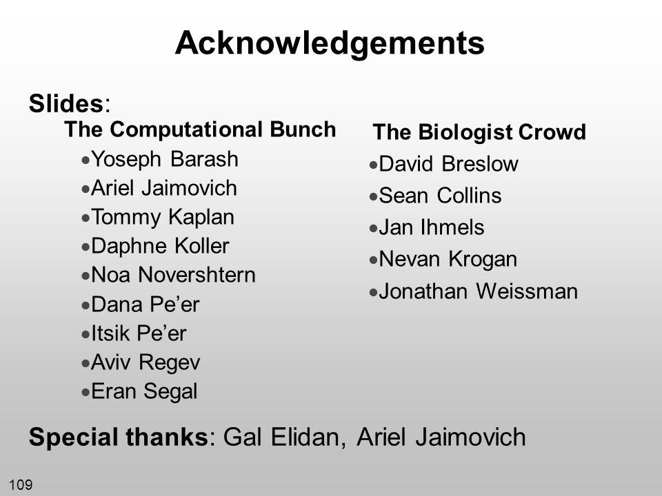 109 Acknowledgements Slides: Special thanks: Gal Elidan, Ariel Jaimovich The Computational Bunch Yoseph Barash Ariel Jaimovich Tommy Kaplan Daphne Kol