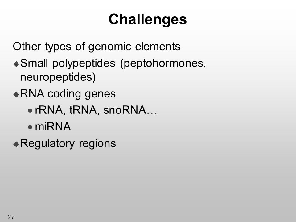27 Challenges Other types of genomic elements Small polypeptides (peptohormones, neuropeptides) RNA coding genes rRNA, tRNA, snoRNA… miRNA Regulatory