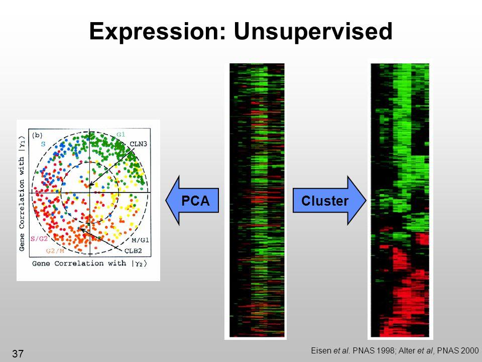 37 Expression: Unsupervised Eisen et al. PNAS 1998; Alter et al, PNAS 2000 ClusterPCA
