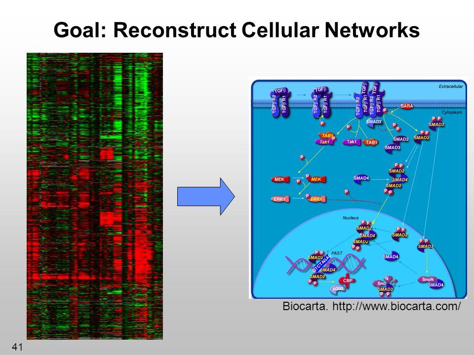 41 Goal: Reconstruct Cellular Networks Biocarta. http://www.biocarta.com/