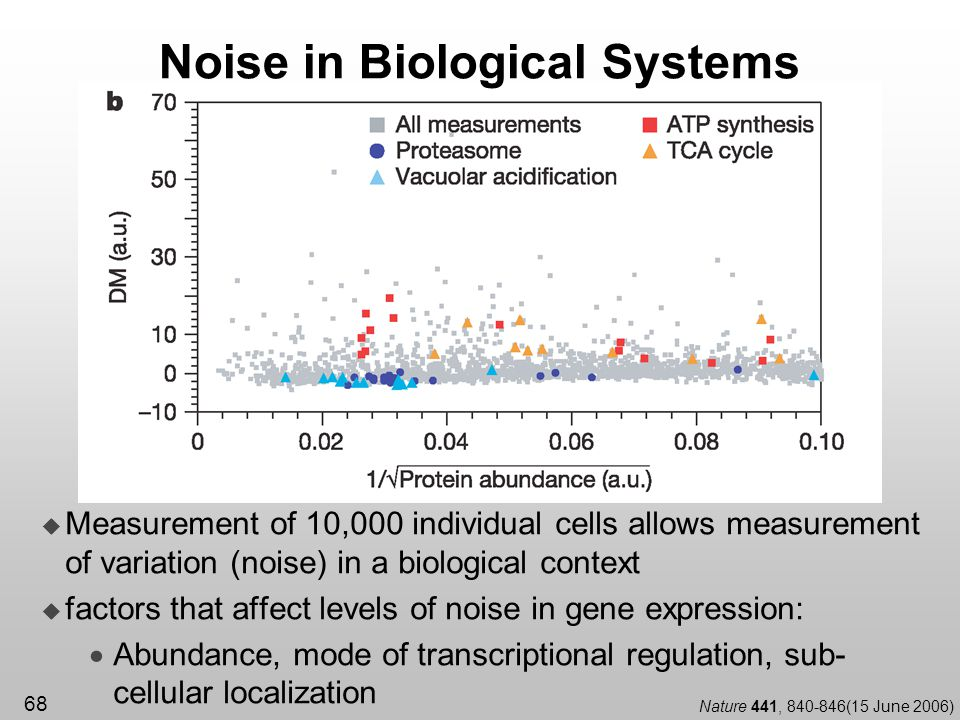 68 Noise in Biological Systems Measurement of 10,000 individual cells allows measurement of variation (noise) in a biological context factors that aff