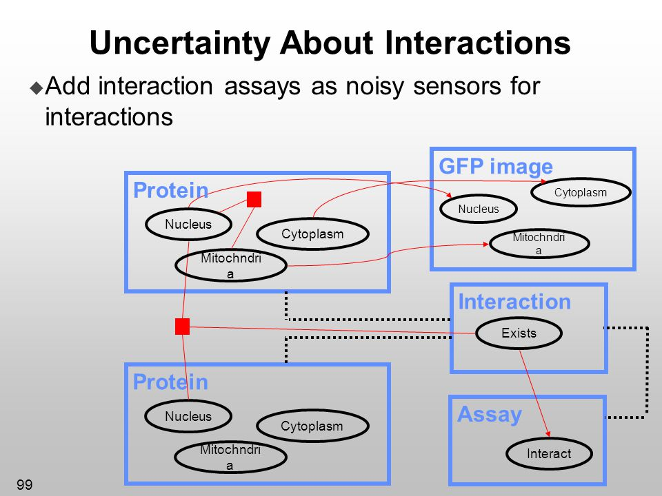 99 Uncertainty About Interactions Add interaction assays as noisy sensors for interactions GFP image Cytoplasm Nucleus Mitochndri a Protein Cytoplasm