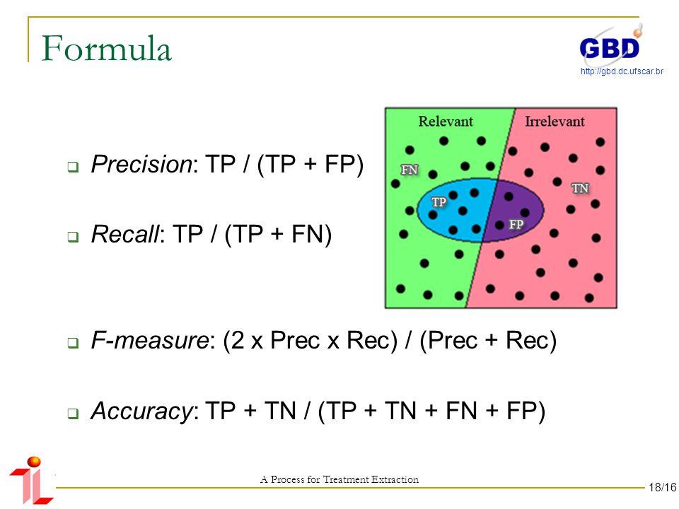 http://gbd.dc.ufscar.br Formula Precision: TP / (TP + FP) Recall: TP / (TP + FN) F-measure: (2 x Prec x Rec) / (Prec + Rec) Accuracy: TP + TN / (TP + TN + FN + FP) A Process for Treatment Extraction 18/16
